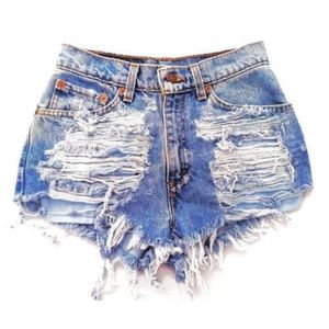Pants - SALE ✨ Destroyed Ripped High Waisted Denim Shorts